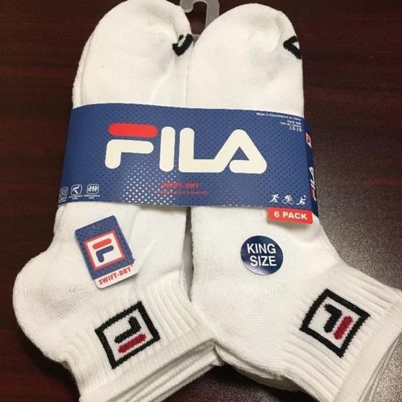 FILA Men Quarter Crew Socks 6 Pack White KING SIZE Boutique